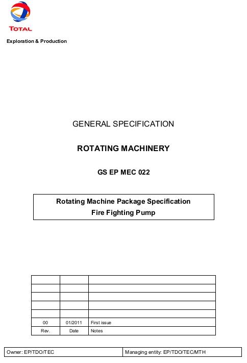 نمونه SPEC شرکت توتال برای تجهیزات دوار به زبان انگلیسی GENERAL SPECIFICATION  ROTATING MACHINERY